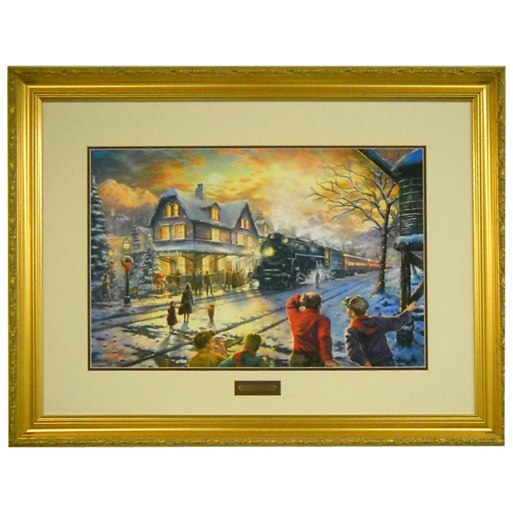 "433-934 - Thomas Kinkade ""All Aboard for Christmas"" 18"" x 27"" Limited Edition Framed Print"
