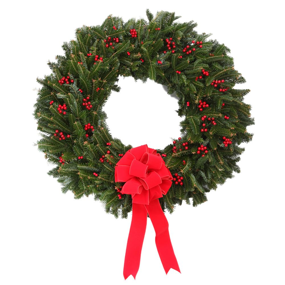 433-985 - The Christmas Tree Company Fresh Berry Christmas Premium Holiday Wreath w/ No-Swing Wreath Hanger
