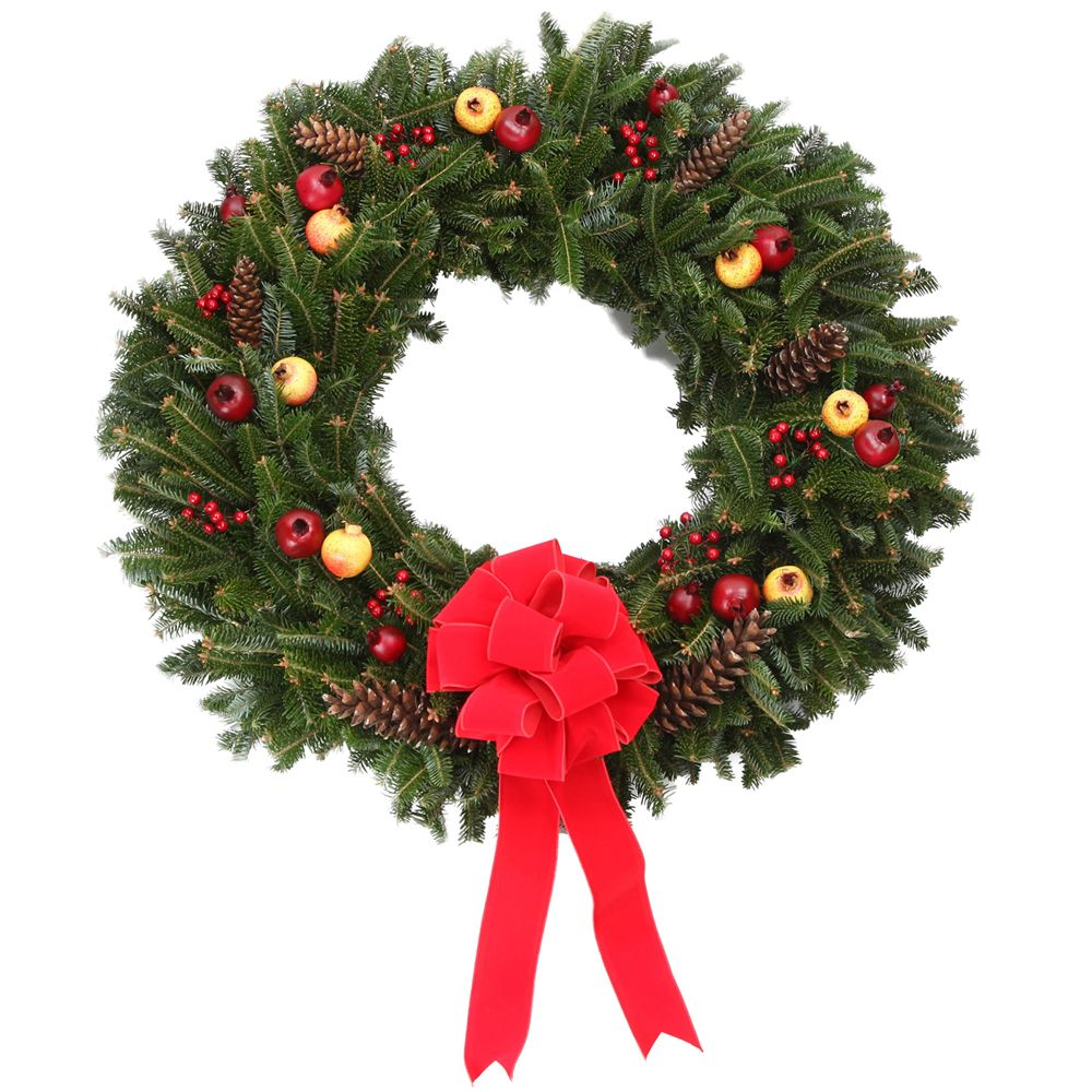434-039 - The Christmas Tree Company Fresh Pomegranate & Pinecone Holiday Wreath w/ No-Swing Wreath Hanger