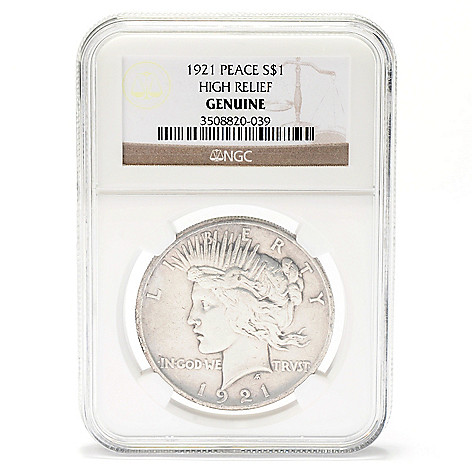 434-074 - 1921 NGC High Relief Peace Dollar Coin