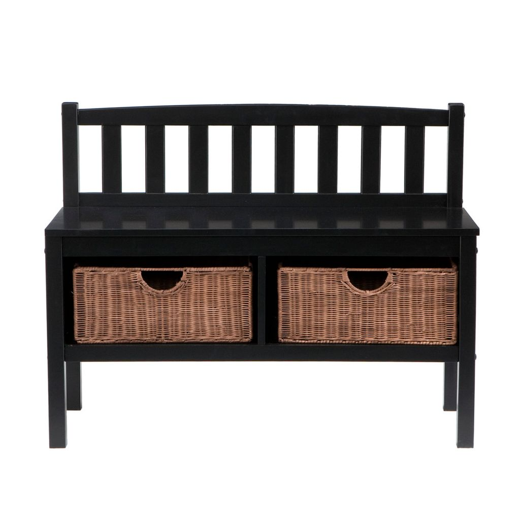 434-252 - Holly & Martin™ Black Bench with Brown Rattan Baskets