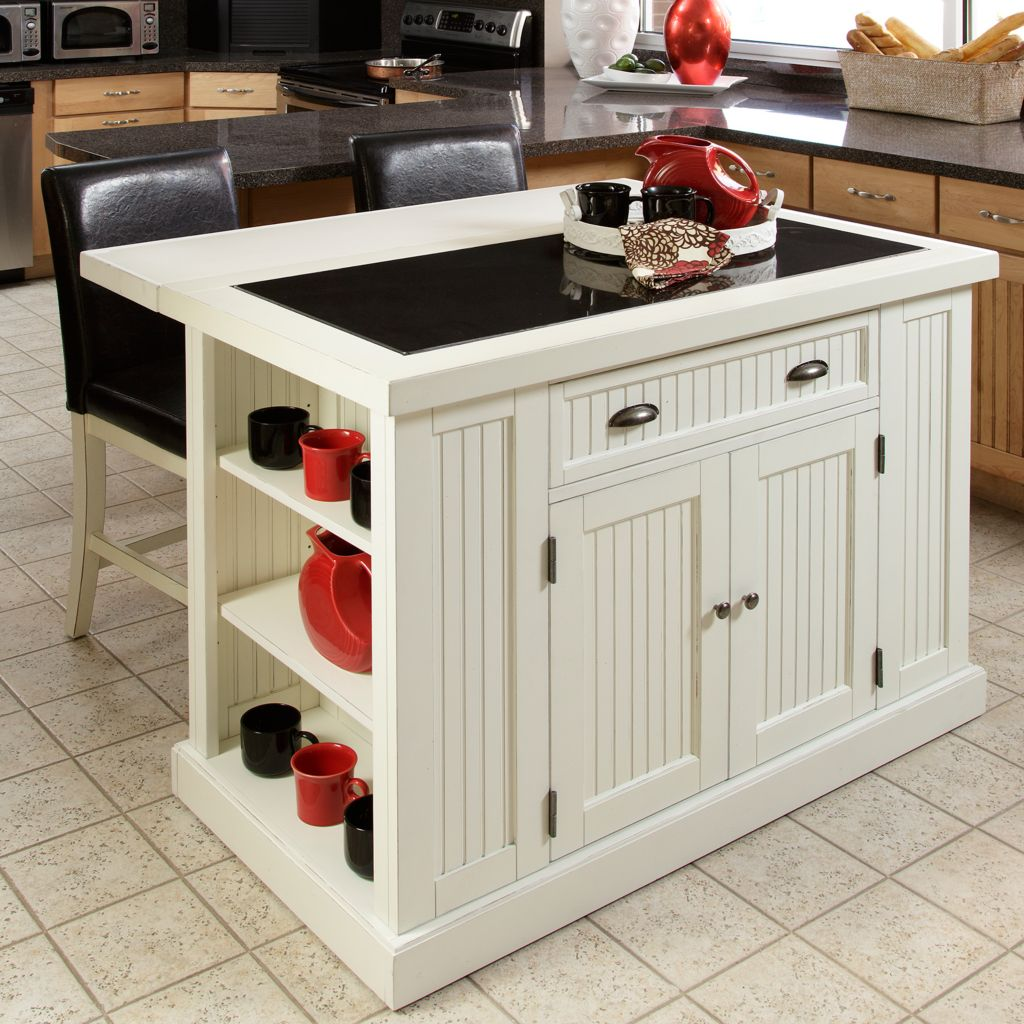 434-437 - Home Styles Distressed Finish Nantucket Kitchen Island & Two Stools