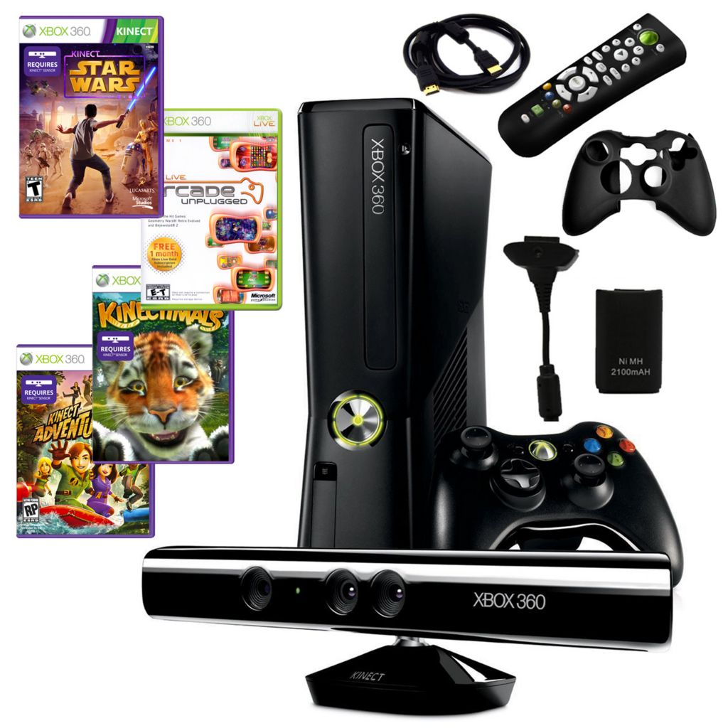 434-629 - Xbox 360 Slim 4GB Kinect Bundle w/ Four Games & Accessories