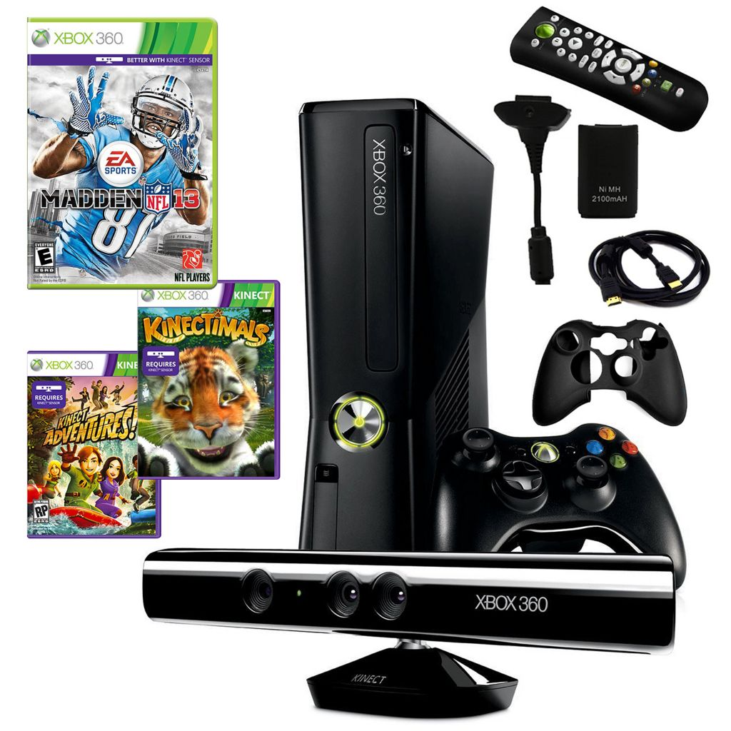 434-632 -  Xbox 360 Slim 4GB Kinect Fun Bundle w/ Three Games & Accessories