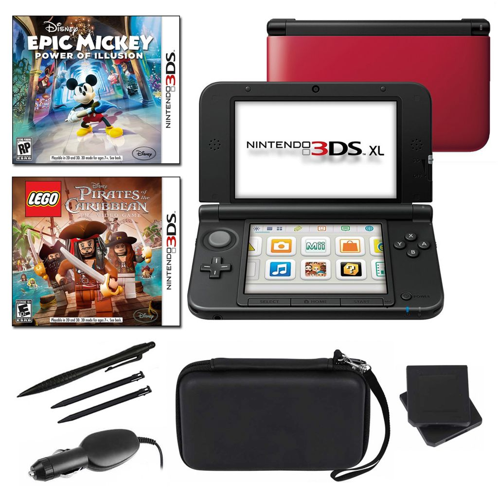 434-648 - Nintendo 3DS XL Red Portable Gaming  System Fun Bundle w/ Two Games & Accessories