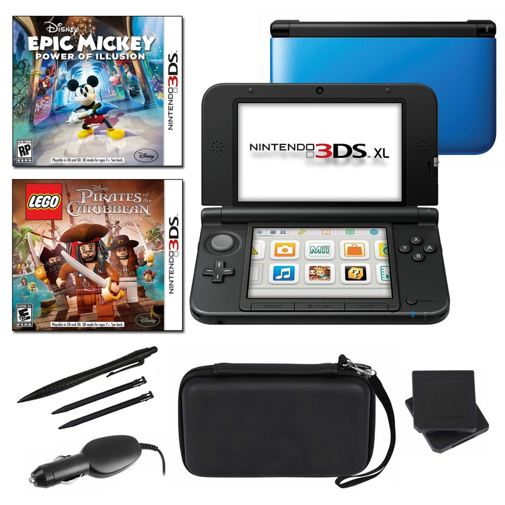 434-649 - Nintendo 3DS XL Blue Fun Bundle w/ Two Games & Accessories
