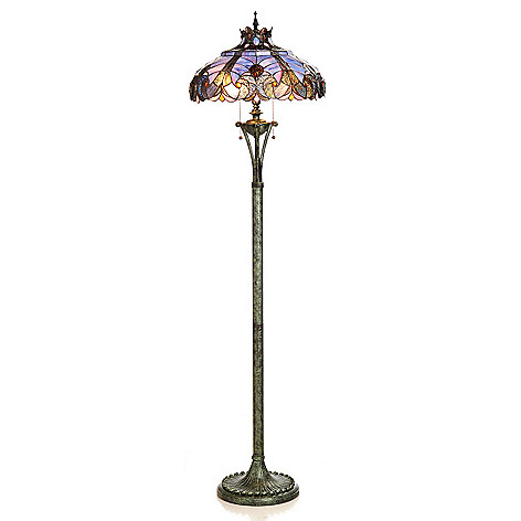 434-671 - Tiffany-Style 66'' Halston Geometrical Stained Glass Floor Lamp