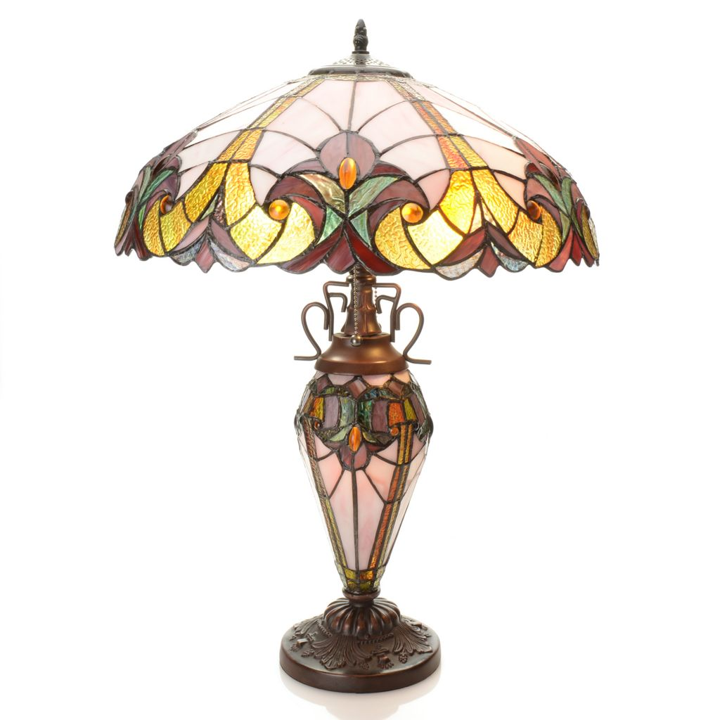 "434-682 - Tiffany-Style 24.5"" Halston Double Lit Stained Glass Table Lamp"