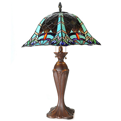 434-923 - Tiffany-Style 29'' Scaling Peacock Antiqued Stained Glass Table Lamp