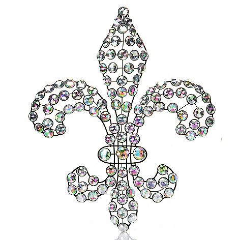 434-937 - Style at Home with Margie 18'' Fleur-de-bling Acrylic & Iron Wall Hanging
