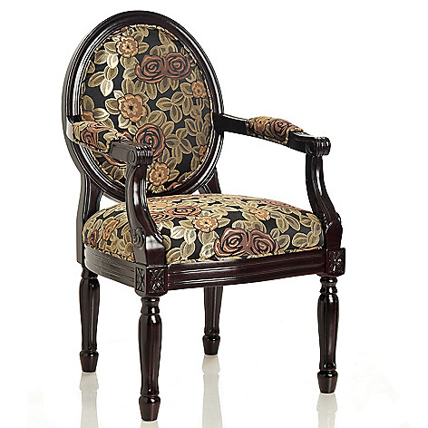 434-939 - Style at Home with Margie 38'' Midnight Blossoms Hand-Carved Arm Chair