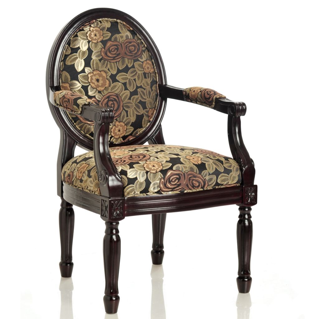 "434-939 - Style at Home with Margie 38"" Midnight Blossoms Hand-Carved Arm Chair"