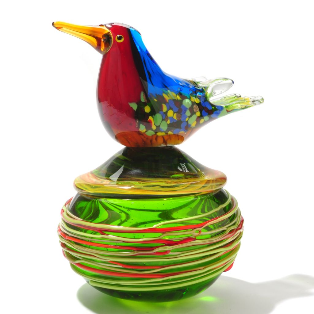 "434-969 - Favrile 7.75"" Hand-Blown Art Glass Bird in Nest Figurine"