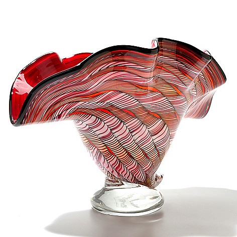 434-975 - Favrile 11.75'' Hand-Blown Art Glass Footed Shell Bowl