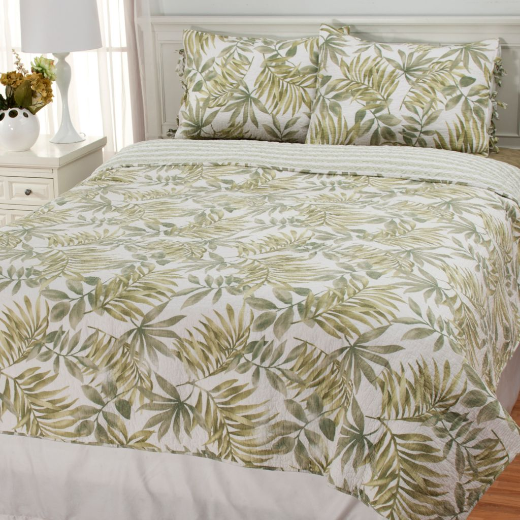 435-128 - North Shore Linens™ Three-Piece Tropical Leaves Cotton Quilt Set