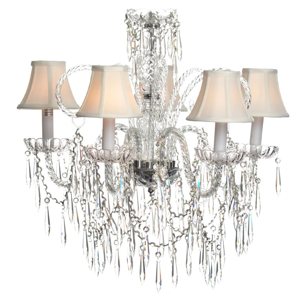 "435-297 - Crystal Lighting Statements 25"" Venetian-Style Crystal Glass Five-Arm Chandelier"