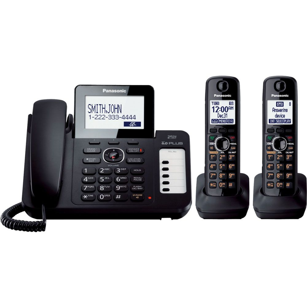 435-326 - Panasonic DECT 6.0 Cordless Phone System w/ One Corded & Two Cordless Handsets