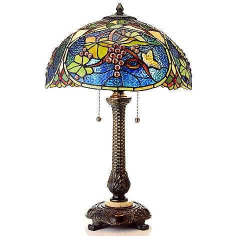 435-418 - Tiffany-Style 24.5'' Evening Vineyard Antiqued Stained Glass Table Lamp