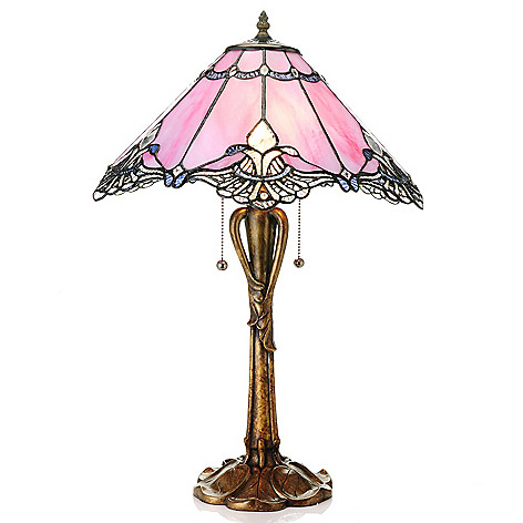 435-424 - Tiffany-Style 24.75'' Crystal Lace Whimsical Stained Glass Table Lamp