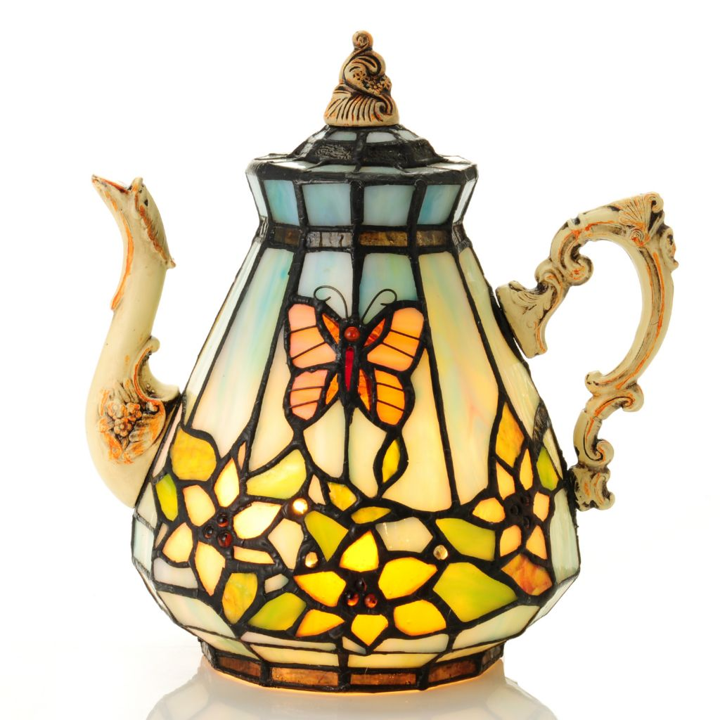 "435-427 - Tiffany-Style 8.75"" Butterfly Floral Teapot Stained Glass Accent Lamp"