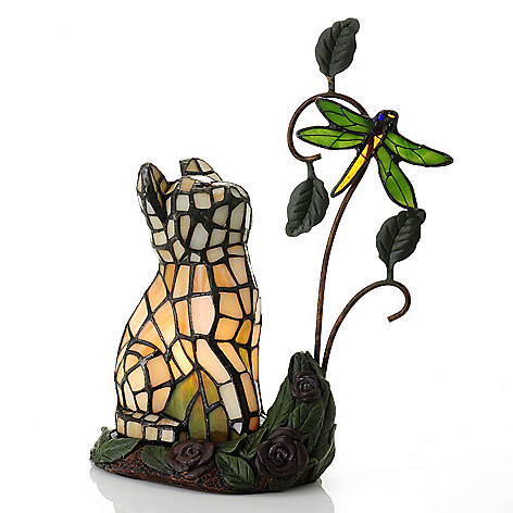 435-428 - Tiffany-Style 11.5'' Smitten Kitten & Dragonfly Stained Glass Accent Lamp