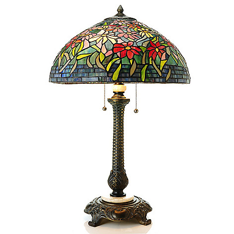 435-430 - Tiffany-Style 27.75'' Geometric Lily Antiqued Stained Glass Table Lamp