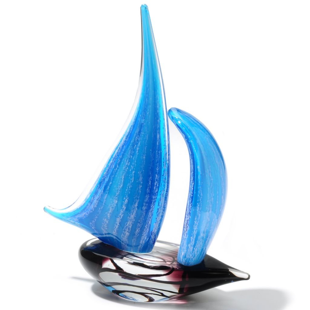 "435-444 - Favrile 11.5"" Art Glass Electric Blue Sailboat Figurine"