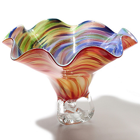 435-453 - Favrile Cinnabar Wave 15.5'' Hand-Blown Art Glass Artistic Bowl