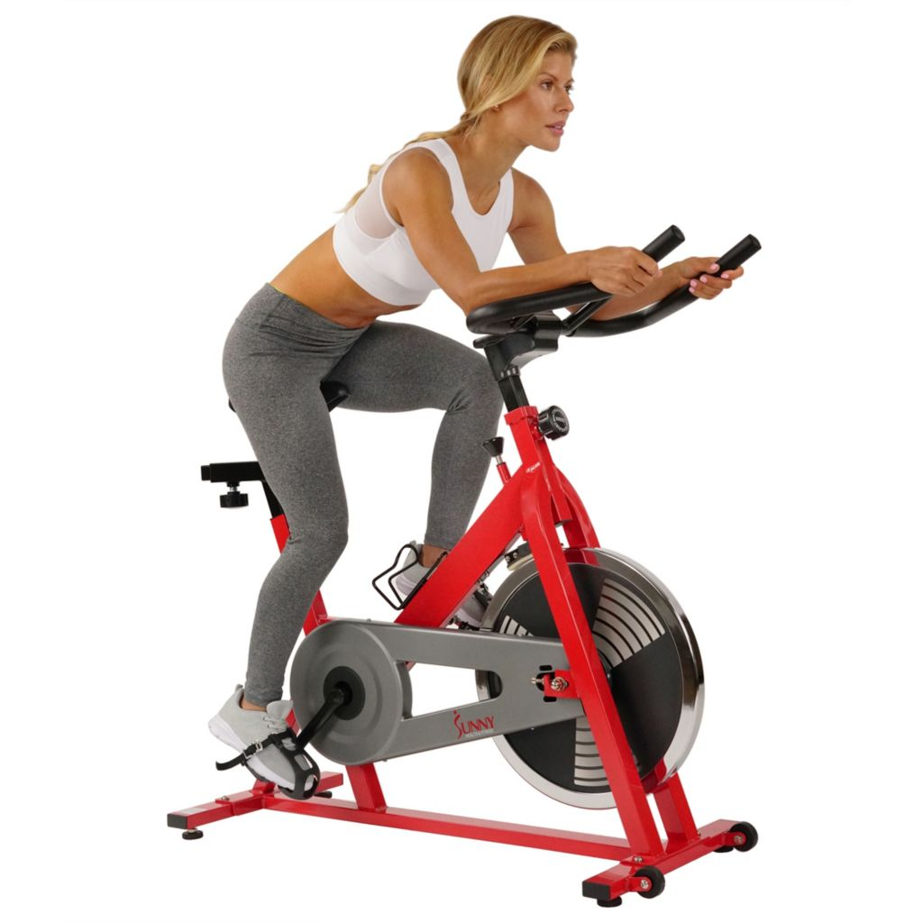 435-499 - Sunny Health & Fitness® Red Indoor Cycling Bike