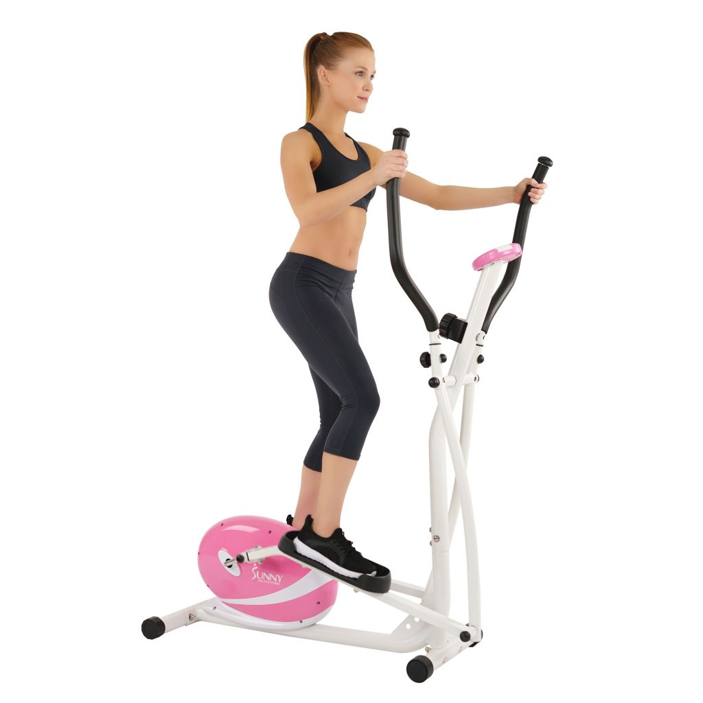 435-507 - Sunny Health & Fitness® Pink Magnetic Elliptical Bike