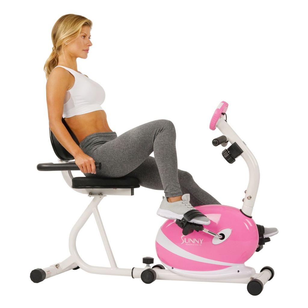 435-508 - Sunny Health & Fitness® Pink Magnetic Recumbent Bike