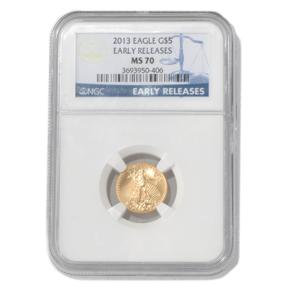 435-593 - 2013 $5 Gold Eagle MS70 Early Release NGC Coin w/ Slab