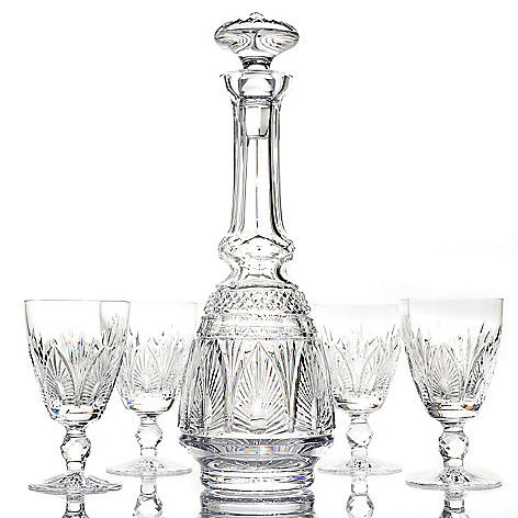 435-638 - House of Waterford® Blackwater Crystal Sherry Decanter w/ Four Glasses