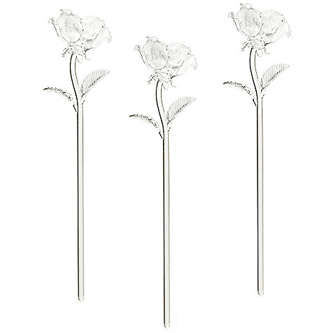 435-649 - Waterford® Fleurology Set of Three 14.5'' Sculpted Glass Roses