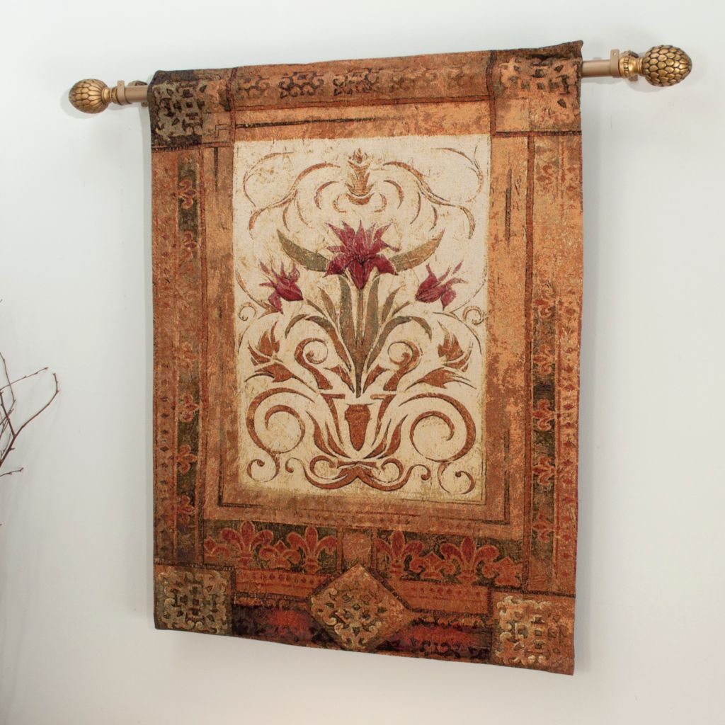 "435-652 - Crimson Blossom 35"" x 41"" Tapestry w/ 85"" Expandable Rod"
