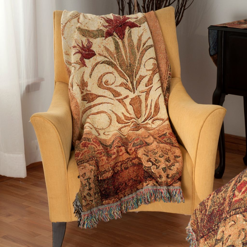 "435-655 - Crimson Blossom 68"" x 51"" Cotton Tapestry Throw"