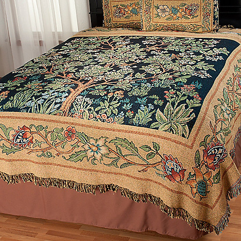 435-659 - Garden of Delight Choice of Size Cotton/Poly Blend Tapestry Coverlet