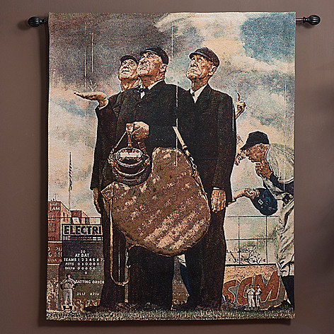 435-666 - ''Bottom of the Sixth'' by Norman Rockwell 38'' x 48'' Tapestry w/ Adjustable Rod