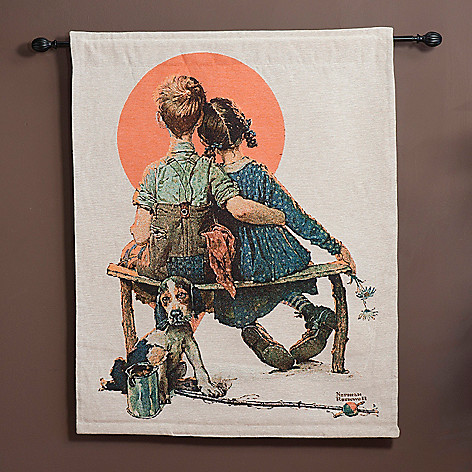 435-667 - ''Spooners'' by Norman Rockwell 35'' x 44'' Tapestry w/ Adjustable Rod