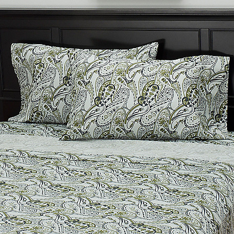 435-716 - North Shore Linens™ 300TC Egyptian Cotton Paisley Sateen Pillowcase Pair