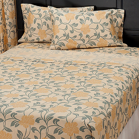 435-720 - North Shore Linens™ Four-Piece 300TC Egyptian Cotton Floral Sateen Sheet Set