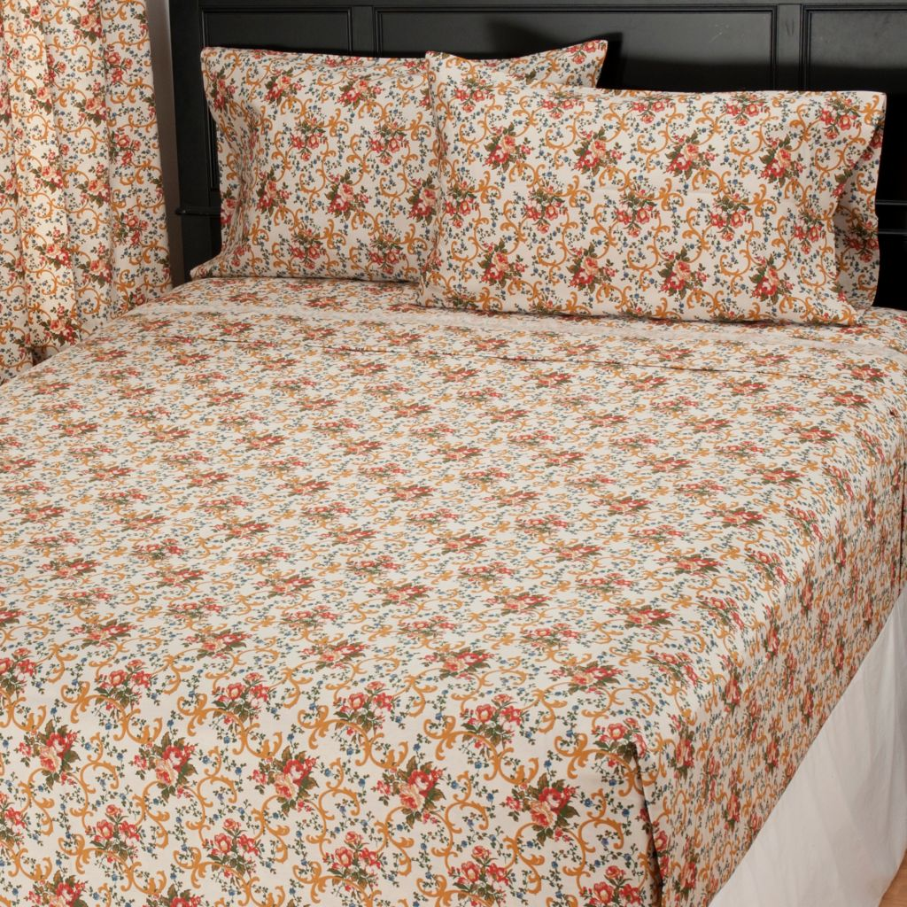 435-733 - North Shore Linens™ Four-Piece 300TC Egyptian Cotton Parisian Floral Sheet Set