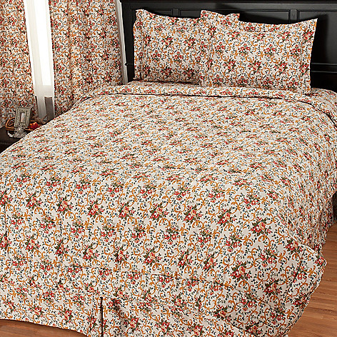 435-735 - North Shore Linens™ Four-Piece 300TC Egyptian Cotton Floral Comforter Set
