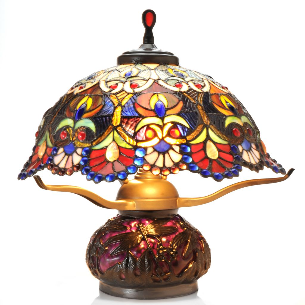"435-876 - Tiffany-Style 18"" Jewelese Floral Double Lit Stained Glass Table Lamp"