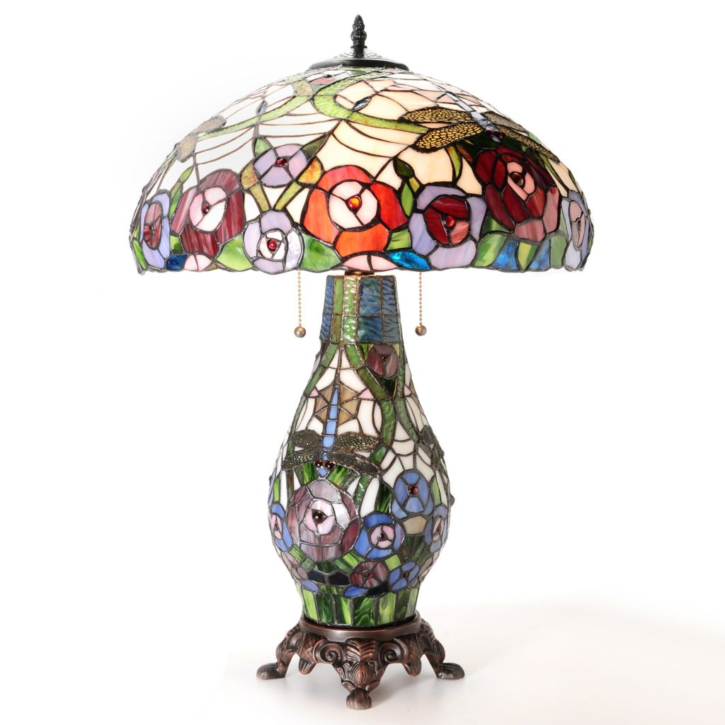 "435-883 - Tiffany-Style 26"" Dragonfly Kisses Double Lit Stained Glass Table Lamp"