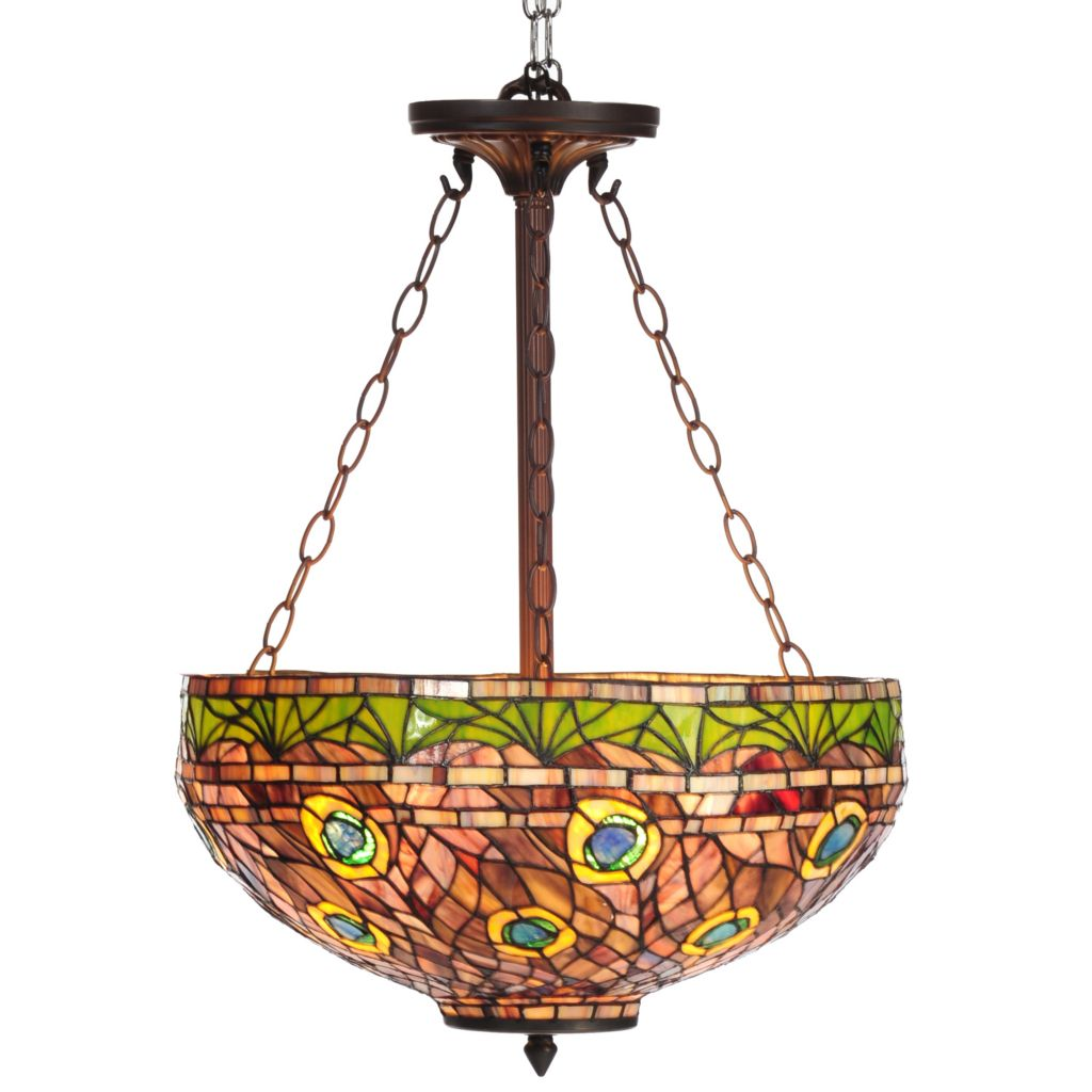 "435-887 - Tiffany-Style 50"" Rippled Peacock Stained Glass Hanging Lamp"