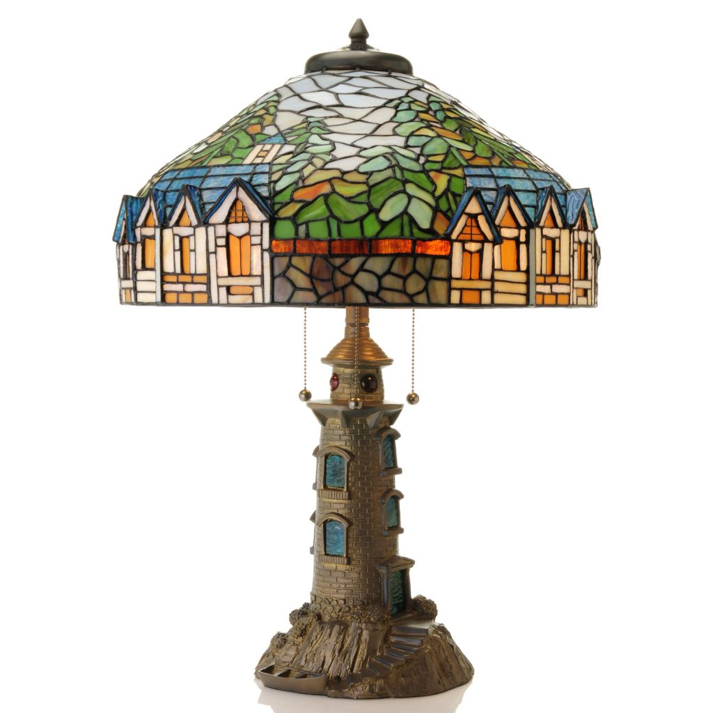"435-888 - Tiffany-Style 27"" Evening in Holland Limited Edition Stained Glass Table Lamp"