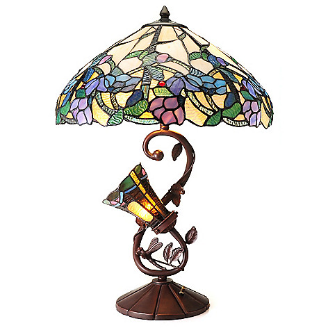 435-890 - Tiffany-Style 25'' Pastel Dreams Limited Edition Double-Lit Floral Table Lamp