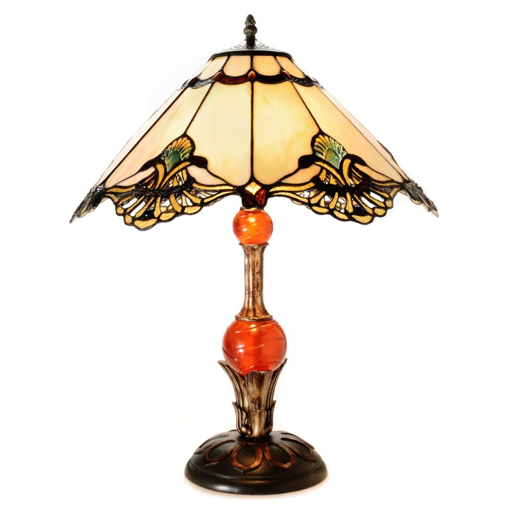 "435-891 - Tiffany-Style 23"" Shells & Scallops Stained Glass Table Lamp"