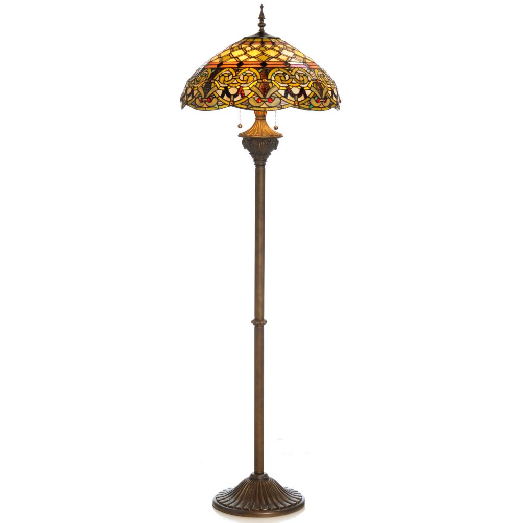 "435-892 - Tiffany-Style 64"" Knotted Hearts Edwardian-Inspired Stained Glass Floor Lamp"